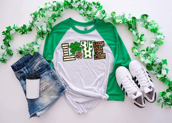 LOVE Leopard St Patricks Day Raglan Shirt