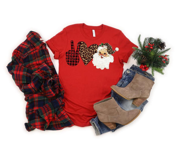 Peace Love Santa Leopard & Plaid Christmas Shirt