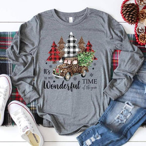 Leopard Plaid Most Wonderful Time Of The Year Christmas Truck Shirt