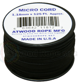 Atwood Rope 1.18mm Braided Microcord - Black - Niagara Quartermaster