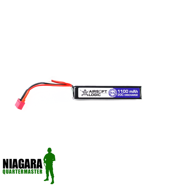Airsoft Logic 11.1v 1100mah Lipo Battery - Mini Stick - Deans