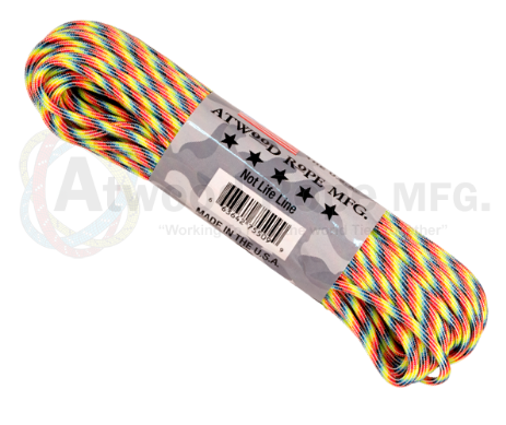 Atwood Rope 100ft 550 Paracord - Light Stripes - Niagara Quartermaster