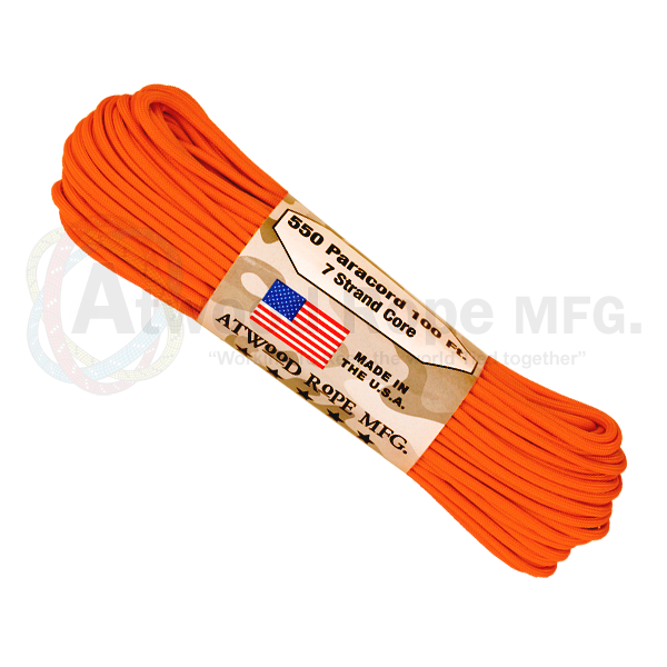 Atwood Rope 100ft 550 Paracord - Burnt Orange - Niagara Quartermaster