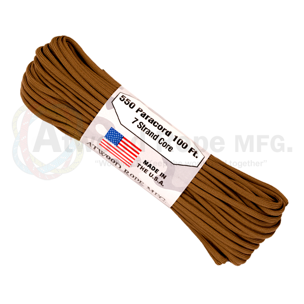 Atwood Rope 100ft 550 Paracord - Coyote - Niagara Quartermaster