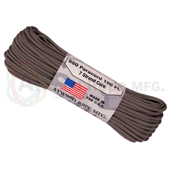Atwood Rope 100ft 550 Paracord - Graphite - Niagara Quartermaster