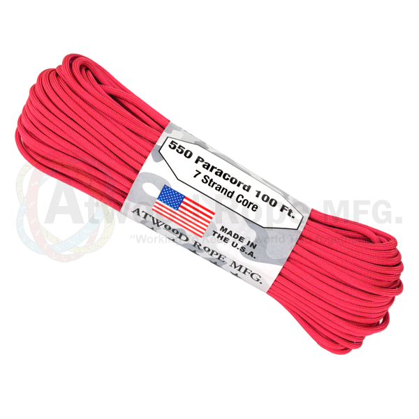 Atwood Rope 100ft 550 Paracord - Hot Pink - Niagara Quartermaster