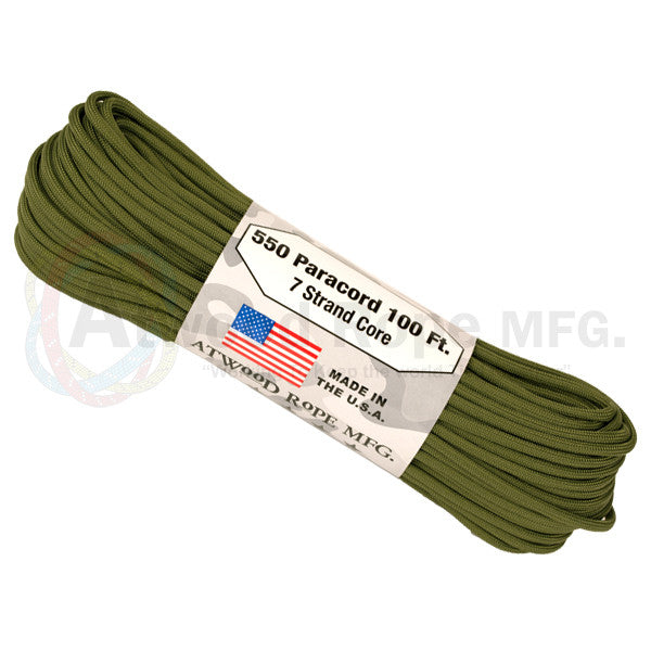 Atwood Rope 100ft 550 Paracord - Olive - Niagara Quartermaster