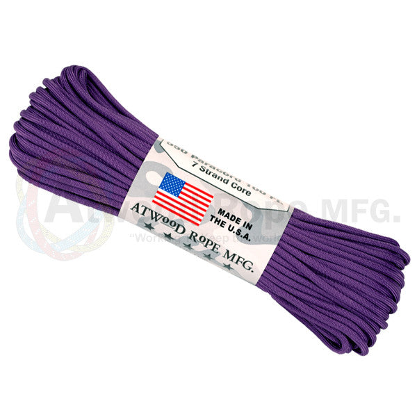 Atwood Rope 100ft 550 Paracord - Purple