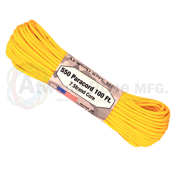 Atwood Rope 100ft 550 Paracord - Yellow - Niagara Quartermaster