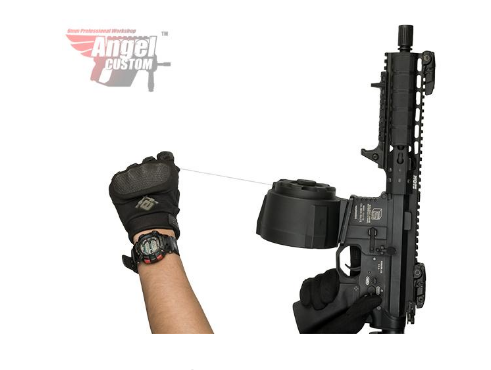 Angel Custom 1500 Round Firestorm Drum Flashmag for M4 / M16 Series Airsoft AEG - Black - Niagara Quartermaster