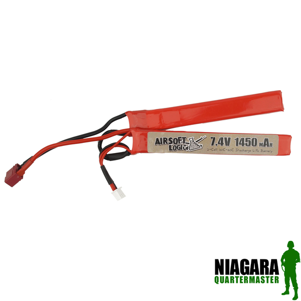 Airsoft logic 7.4 v 1450 Mah High Discharge Lipo - Nunchuck - Deans