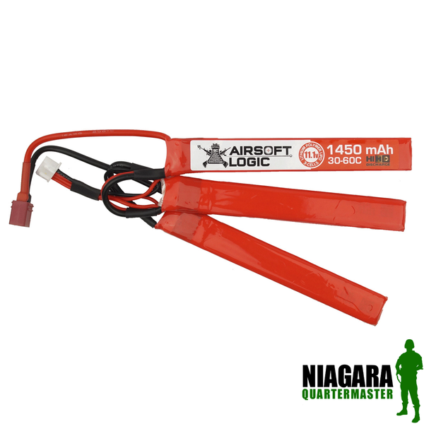 Airsoft Logic 11.1v 1450 Mah High Discharge Lipo  - Triplet - Deans