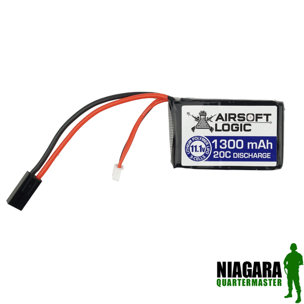 Airsoft Logic 11.1v 1300mah  Lipo - PEQ Type