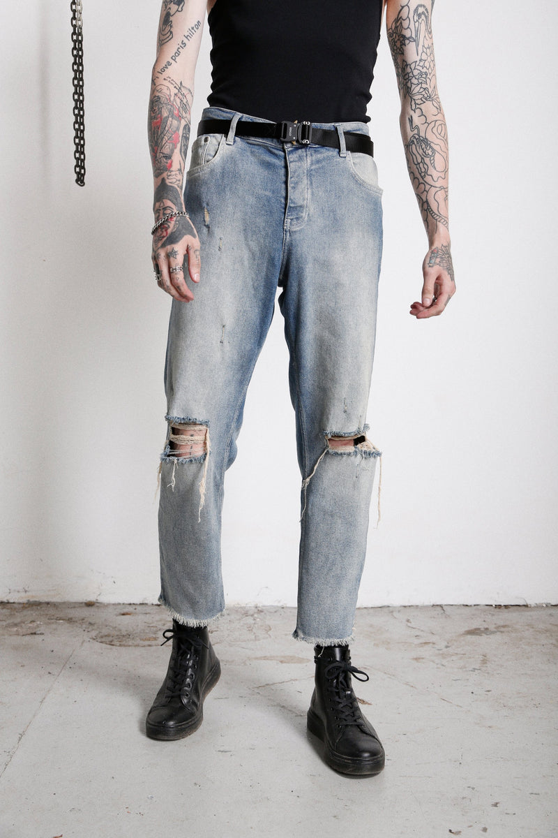 118 Distressed Jeans | Desert Wash - OTHER UK  Ripped Distressed Destroyed Torn Rock Punk Emo Gangster Urban DIY Paint