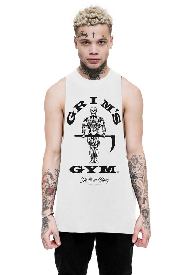 Grims Gym Raw Edge Tank / White
