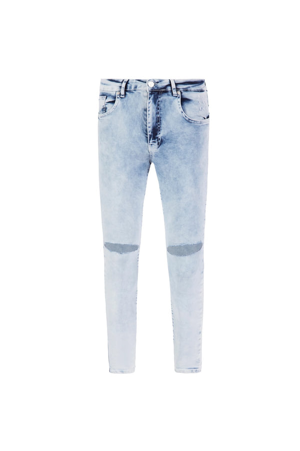 Ripped Knee Jeans | Bleach Washed Blue - Alive Denim, Rock n Roll Denim, Contemporary Denim Brand, Alive Denim Jeans Denim Jackets, Vintage T-Shirts and Vintage Hoodies