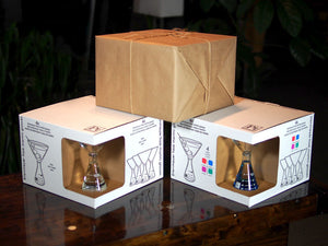 Periodic Tableware Laboratory Martini Glasses Packaging