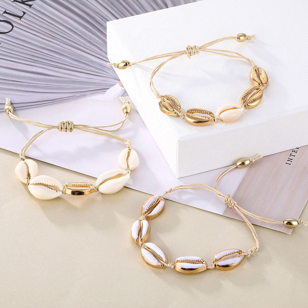Gold Color Cowrie Shell Ladies Bracelets - Women Charm Bracelets 2019
