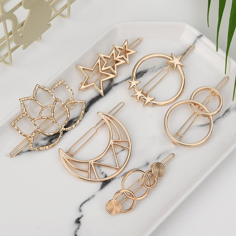 Women's Hair Clip Pin - Geometric Various Shapes Head Pin