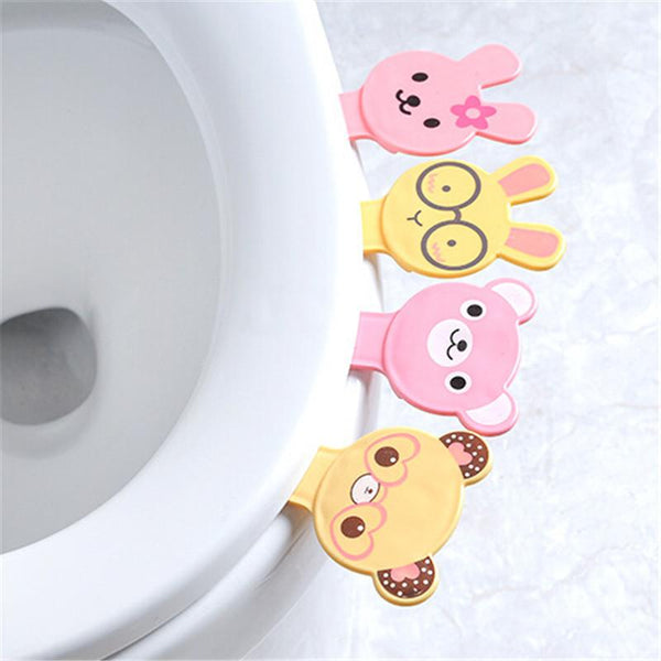 Cute Cartoon Toilet Seat Pad Cover Lifter Adhesive Sticker Toilet Lid Lift Tools