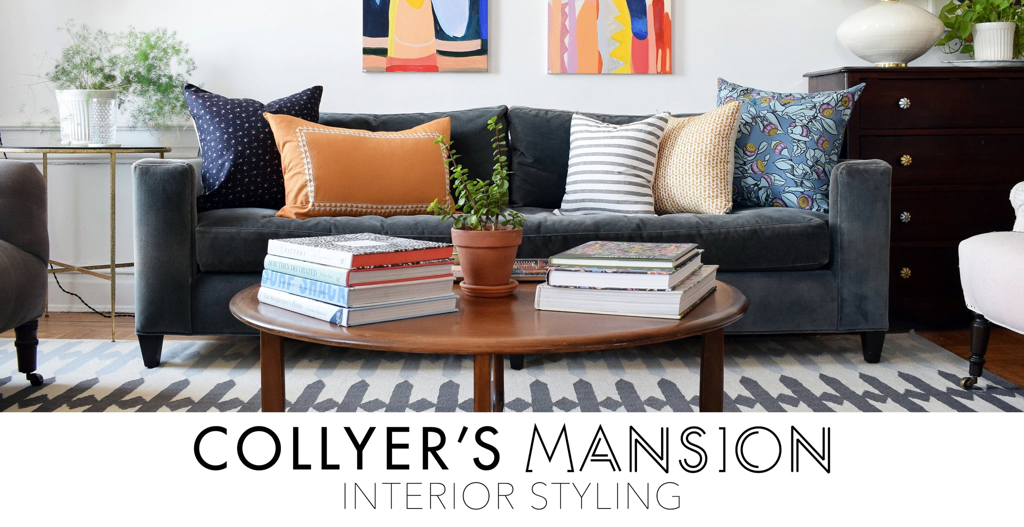 Colorful pillows with print and pattern done by Interior Styling at Collyer's Mansion - Interior Styling Services