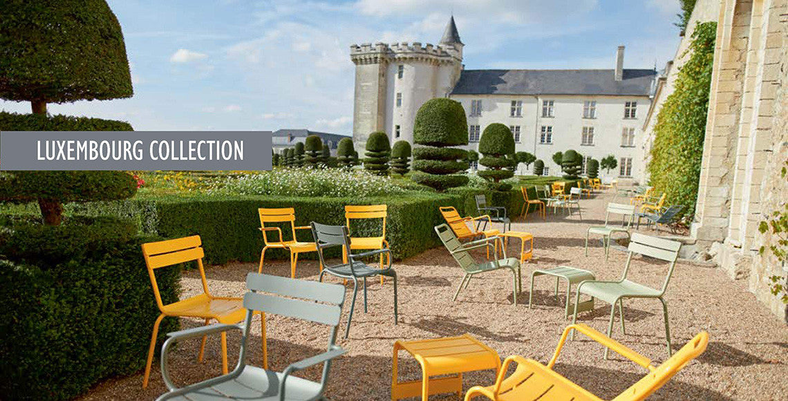 Luxembourg Collection is colorful outdoor furniture by Fermob sold at Collyer's Mansion