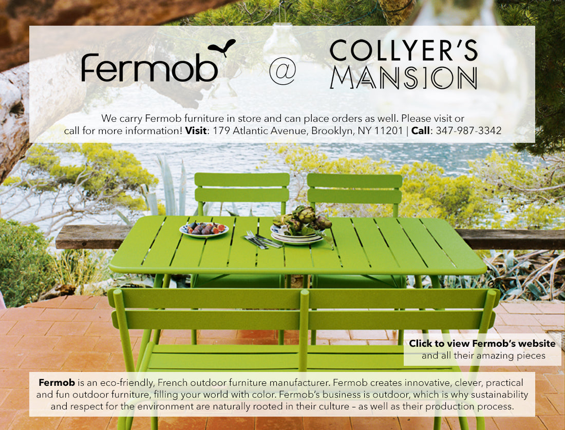 Fermob eco-friendly colorful outdoor furniture sold at Collyer's Mansion