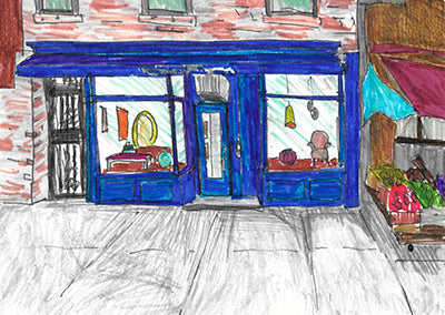 Artist painting of Collyer's Mansion store front  in Brooklyn with blue front
