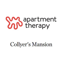 Apartment Therapy Logo and article about Collyer's Mansion being perfect for colorful home decor