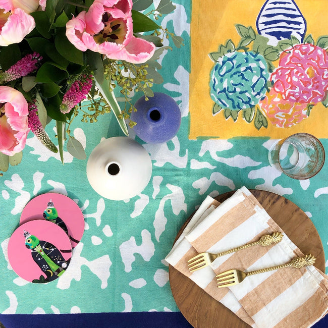Hazelnut stripe linen napkin on a colorful tablescape - Collyer's Mansion
