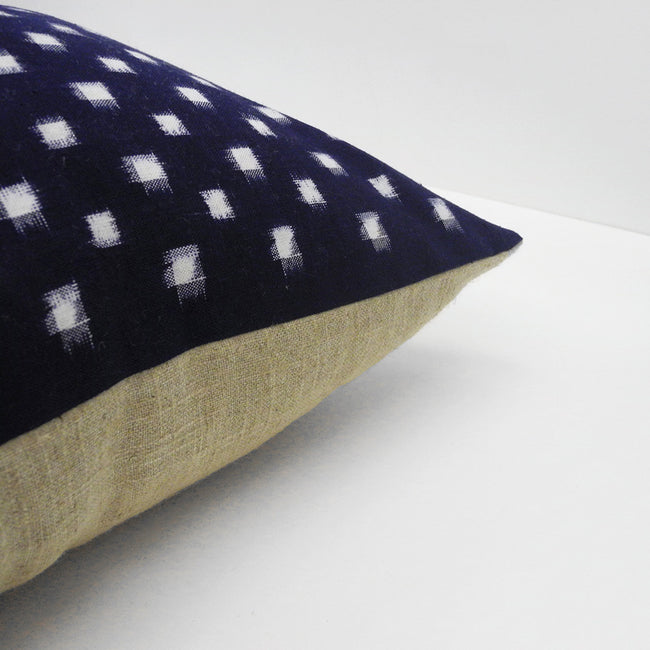 Indigo Check Pillow, square