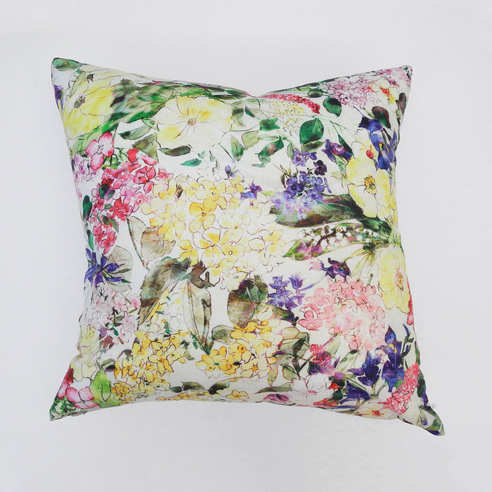 Yellow Floral Pillow, square