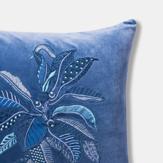 Fig Blue Velvet Embroidered Pillow, square
