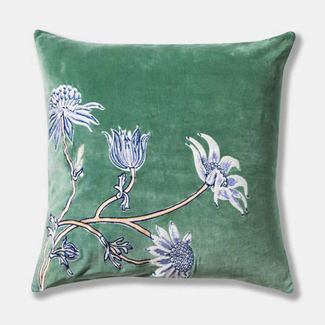 Native Meadow Velvet Embroidered Pillow, square