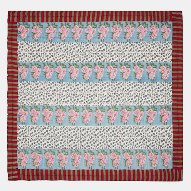 Leopard Stripes Sky Quilt, full/queen