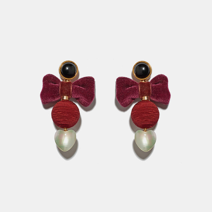 Burgundy Bow Earrings