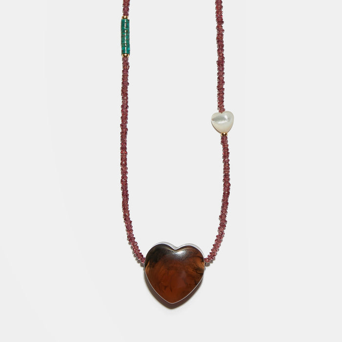 Gemini Necklace in Pomegranate