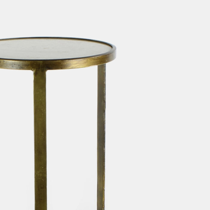 Antique Brass and White Marble Savoy Side Table