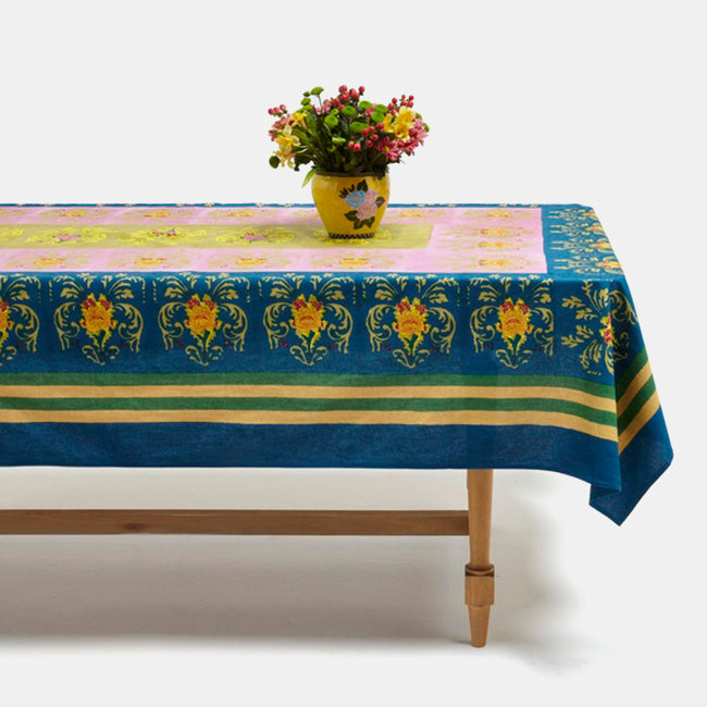 Brocade Blue Tablecloth