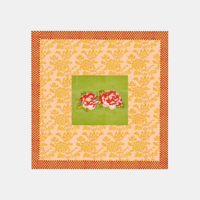 Square Double Peonia Acid Green Tablecloth