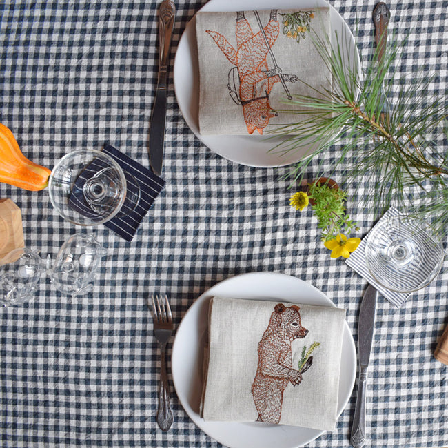 Linen Tablecloth, anthracite gingham