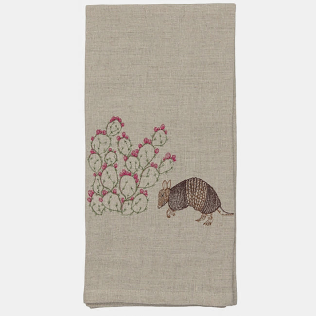 Armadillo and Prickly Pear Tea Towel, Kitchen Cloth, Coral & Tusk, Collyer's Mansion - Collyer's Mansion