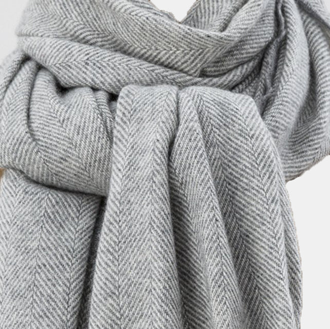 Sandymount Cashmere Shawl in Grey and Cream