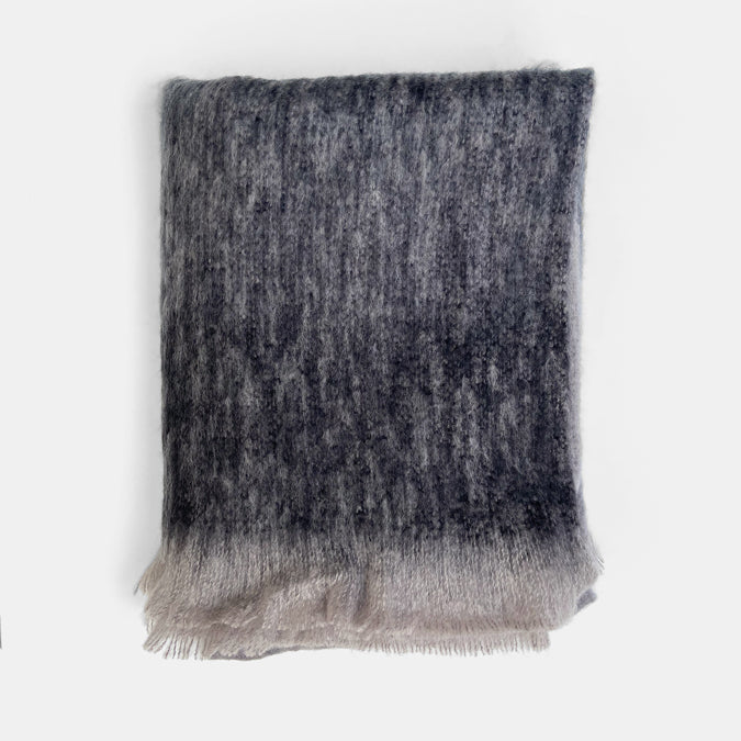 Charcoal Ombre Mohair Throw
