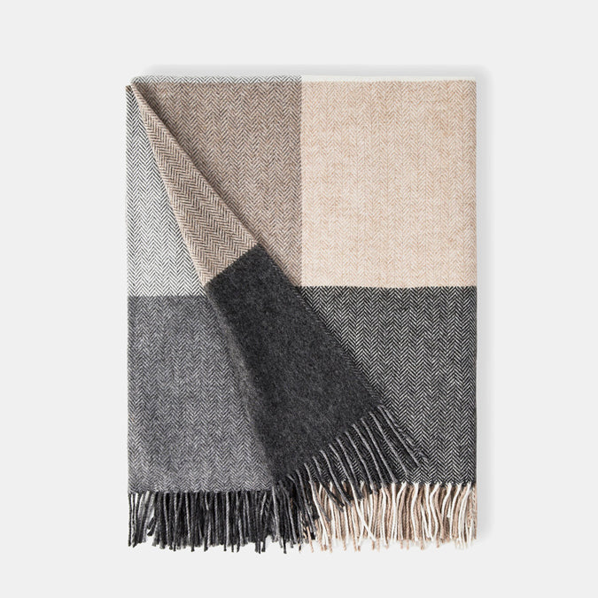 Grey and Natural Cashmere Blend Throw