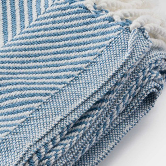 Cotton Herringbone Throw, denim, Throw, Brahms Mount, Collyer's Mansion - Collyer's Mansion