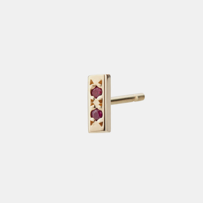 Individual Bar Earring, ruby
