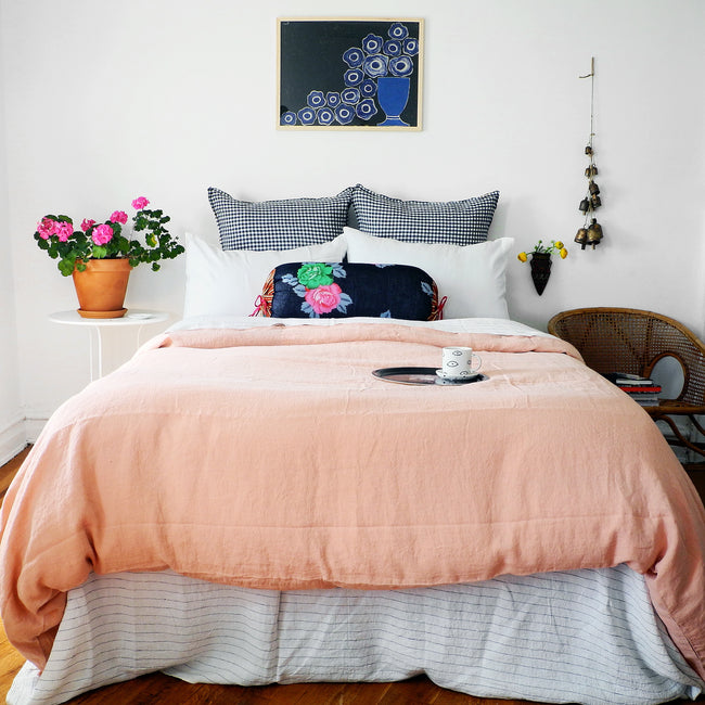 Linge Particulier Off White Standard Linen Pillowcase Sham with copper linen duvet and Lisa Corti bolster for a colorful linen bedding look in soft white - Collyer's Mansion