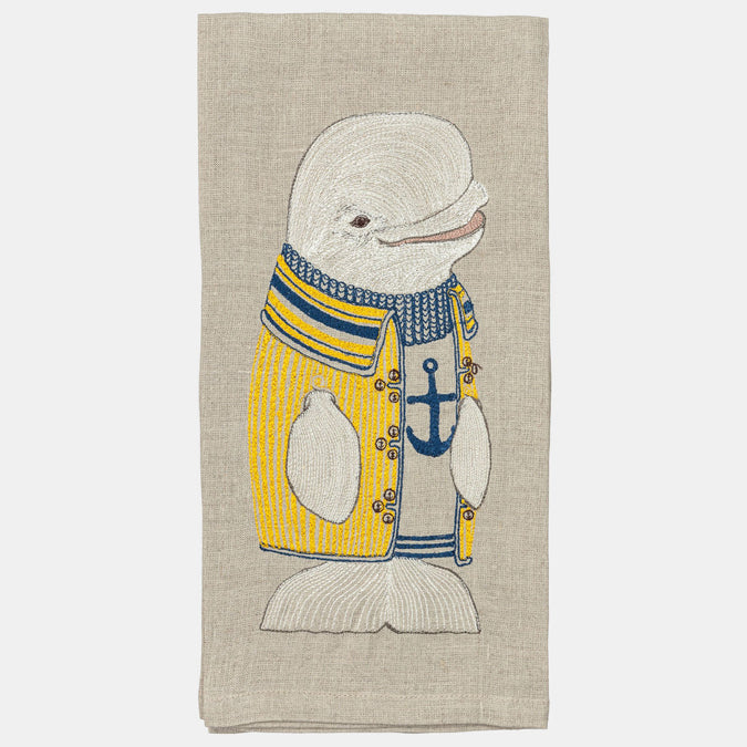 Beluga Whale Tea Towel