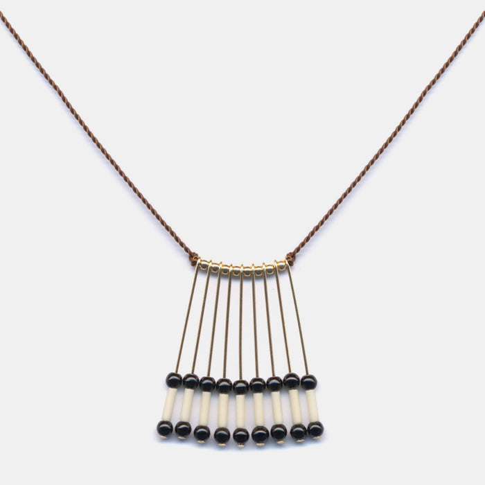Black and Ivory Fringe Necklace, Necklace, I. Ronni Kappos, Collyer's Mansion - Collyer's Mansion
